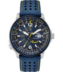 citizen eco-drive men's angel nighthawk blue leather strap watch 42mm