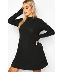 plus jumbo geribbelde gesmokte jurk met lange mouwen, zwart