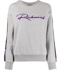 john richmond sequinned logo sweatshirt - grey