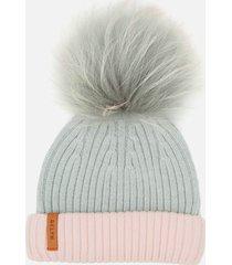 bklyn women's merino classic pom pom hat - grey/pink