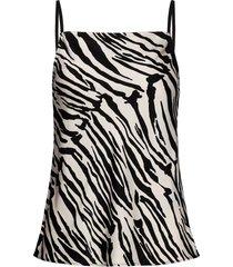 prt zebra cami top t-shirts & tops sleeveless zwart calvin klein