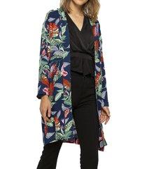 kimono largo con bolsillos azul gouache