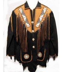 men black and tan western leather jacket with brown fringe, mens fringe jackets