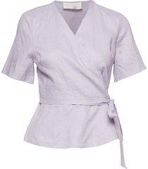 high pressure top linen blouses short-sleeved lila fall winter spring summer
