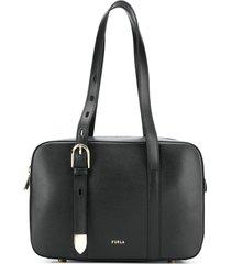 furla structured shoulder bag - black