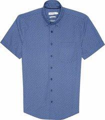 camisa casual manga corta estampada slim fit para hombre 93037