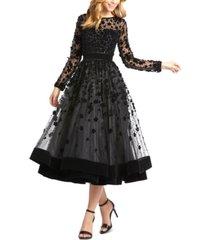 mac duggal floral-embellished fit & flare midi dress