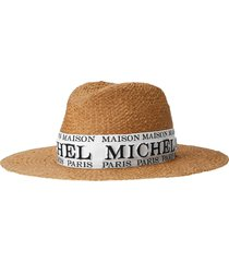 maison michel zango logo-embroidered fedora - neutrals