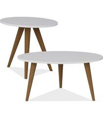 kit com mesa de centro e mesa de canto lateral lyam decor retrô branco