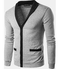 uomo cardigan a maglia semplice autunnale invernale a monopetto a contrasto di colore