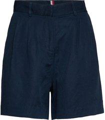 linen tencel short bermudashorts shorts blå tommy hilfiger