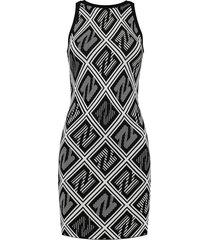 aangesloten jurk met all-over n-print