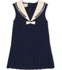 gucci dark blue stretch-organic cotton dress