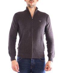 vest gant cotton pique zip cardigan overhemden mens antraciet