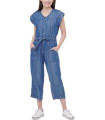 dkny jeans bow-trim snap-front jumpsuit