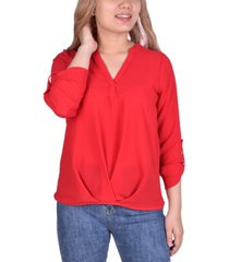 ny collection petite roll-tab-sleeve top