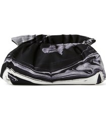 lafayette 148 new york geode print twill pochette clutch - black