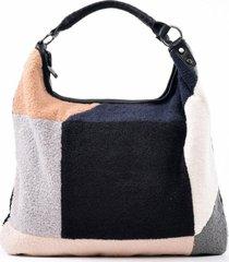 cartera patchwork lana negro mailea
