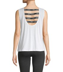 betsey johnson performance women's cut-out cotton blend tank top - white - size xs