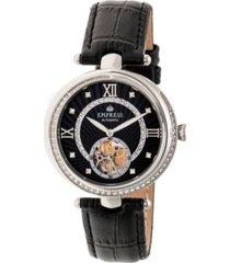 empress stella automatic black dial, black leather watch 39mm