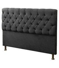 cabeceira casal king 190cm para cama box sofia corino preto - ds móveis