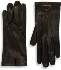 women's prada triangle logo plaque leather gloves