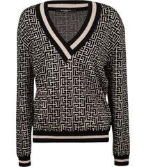 balmain stripe trimmed logo v-neck sweater