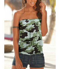 yoins verde militar plisado diseño camuflaje sin mangas con top de tubo de camuflaje