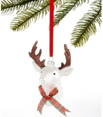 holiday lane christmas cheer glass stag head with plaid bow tie ornament, created for macy's