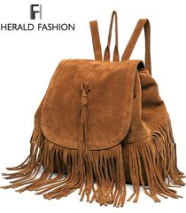 casual women backpack mini tassels rucksack fashion solid women shoulder bag sat