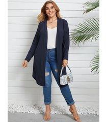 yoins plus talla prendas de punto de manga larga azul marino