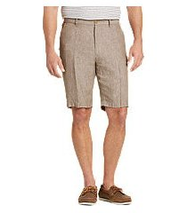 reserve collection traditional fit linen flat front shorts by jos. a. bank