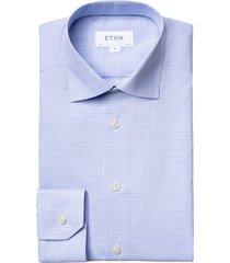 men's big & tall eton contemporary fit plaid dress shirt, size 18 - blue