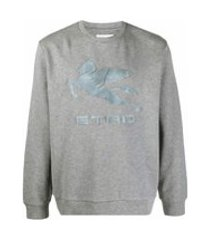 etro logo-embossed cotton sweatshirt - cinza