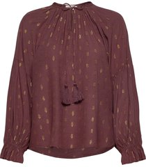 maschacr blouse blus långärmad röd cream