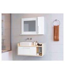 conjunto para banheiro bangkok ii com gabinete suspenso 2 pt branco e off white