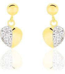 orecchini cuore pendenti in oro e cristalli per donna