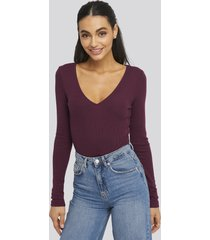 na-kd basic deep v-neck ribbed body - burgundy