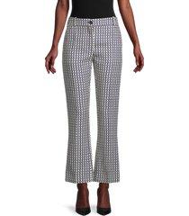 valentino women's virgin wool & silk logo-print pants - almond - size 2