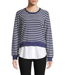layered striped sweatshirt