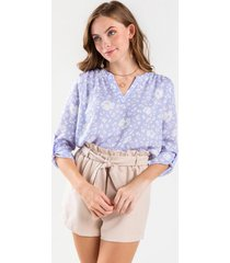 cessie floral notch blouse - lavender