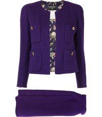 chanel pre-owned setup suit jacket skirt - purple