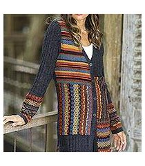 100% alpaca cardigan, 'patchwork in graphite' (peru)