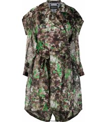 mr & mrs italy blossom camouflage-print trench coat - green