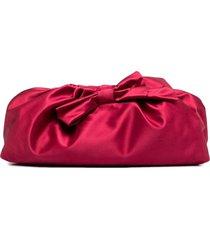 red(v) bow-detail satin clutch bag