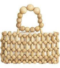 bolsa mini bag de madeira em bolinhas entremeadas feminina