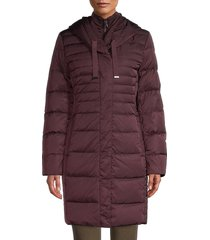 t tahari women's down-filled long puffer jacket - black - size xs