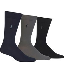 men's polo ralph lauren assorted 3-pack supersoft socks, size one size - blue