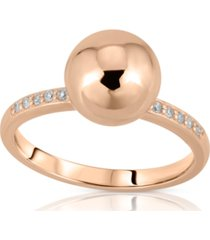 brilliant bubbles diamond 1/10 ct. t.w. side line ring designed in 14k rose gold over sterling silver