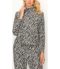 coin 1804 women's zebra french terry built-in mask hoodie